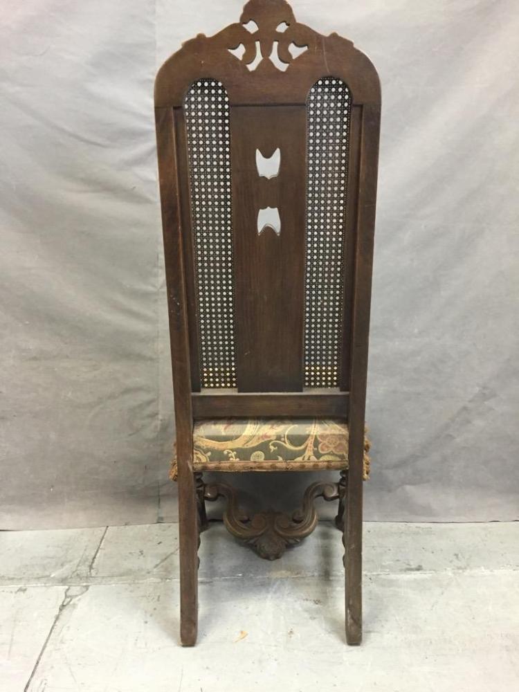 antique high back hall chair w cane weave molded wood des. Black Bedroom Furniture Sets. Home Design Ideas