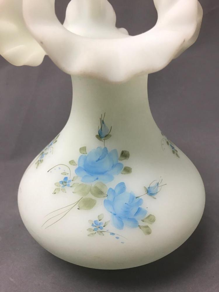 Older Signed Opaque White Hand Painted Fenton Glass Vase