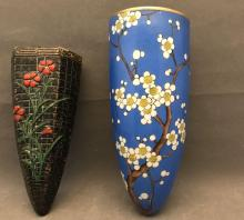 Two older Japanese wall pockets