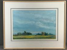 Pastel painting on paper Salinas landscape. Signed Lee Romero