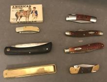 Lot of seven pocket knives including Case