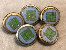 Five 19th century Japanese cloisonne peace symbol buttons