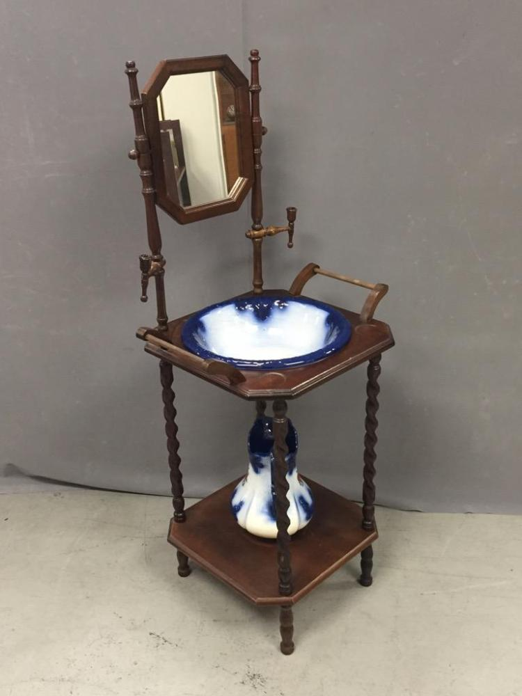 Reproduction wood wash basin with mirror porcelain bowl an for Wash basin mirror price