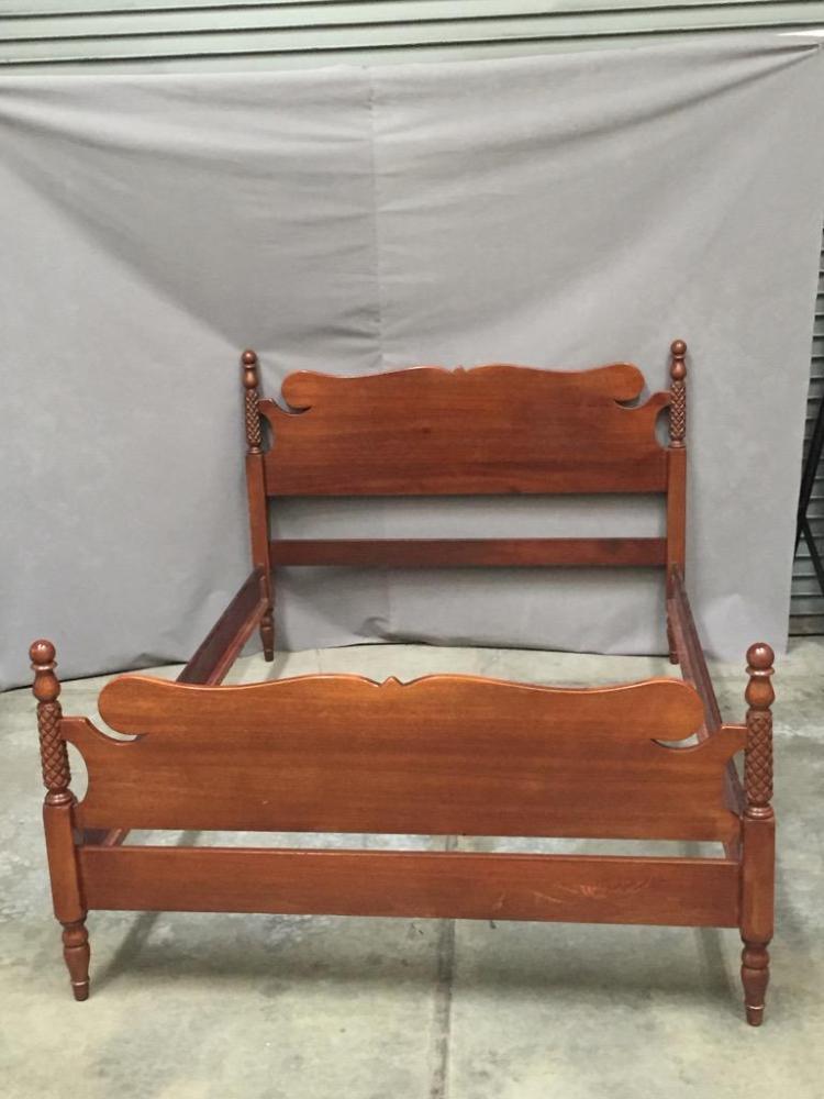 Vintage full double carved wood bed frame