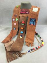 1960s Scout Sash, w/ badges, beads, & buttons