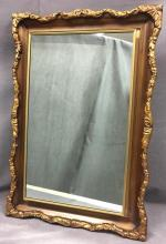 Vintage 1950s Hollywood Regency Bathroom / medicine mirror, set in large gold frame w/ original glass shelves