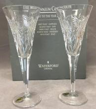 (2) Waterford Crystal Champagne Flutes hand carved