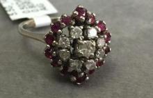 14k White Gold Diamond & Ruby Ring, 5.5g, (rubies 0.80ct, diamonds 0.50ct), AIG appraisal of $2,240.00