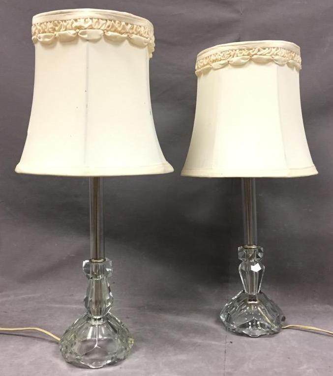 Pair of Vintage glass Vanity lamps w/ etched design & origin