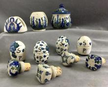 Lot of (11) Hand-painted Polish ceramic pieces by