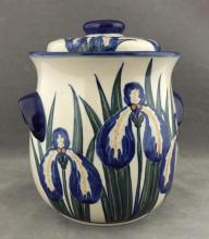 Hand-painted Polish ceramic lidded jar by