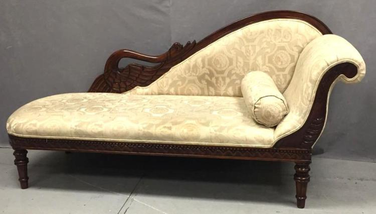 Vintage chaise lounge w hand carved swan decoration for Carved chaise lounge