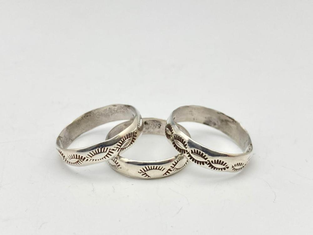 3 Navajo Sterling Silver Band Rings With Stampwork