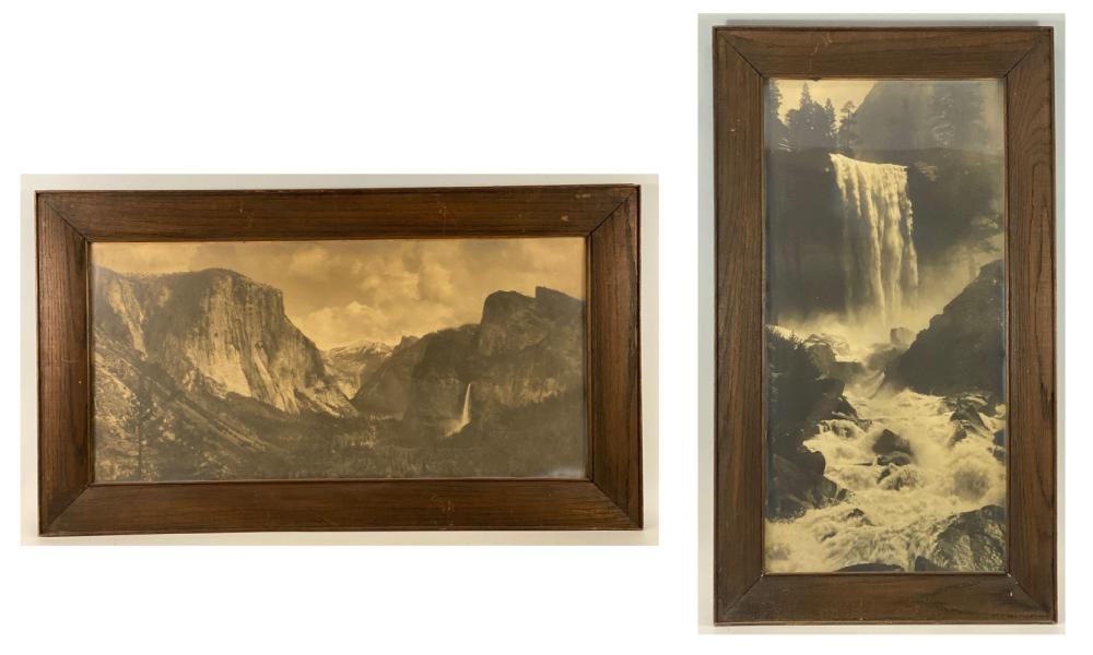 Two Large and Early Antique Yosemite Photographs, Framed in Period California Arts and Crafts Frames