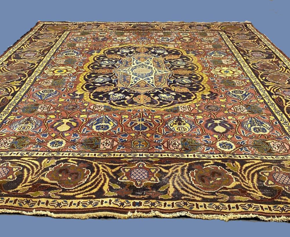 Older Afghan wool carpetYellow, Red, Blue, and Brown Rug