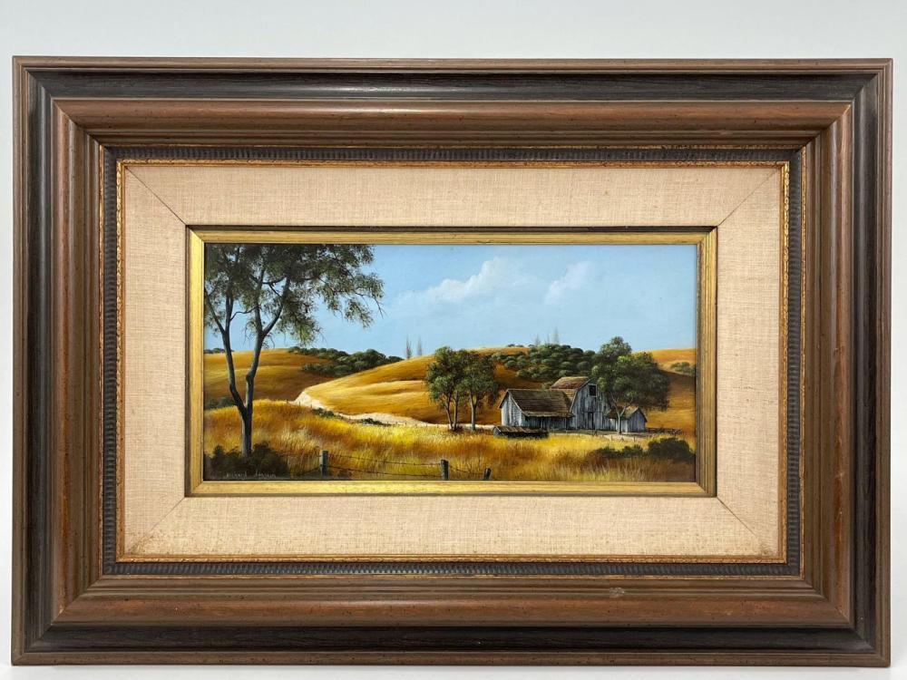 Richard Danskin, Farm Landscape, Oil on Board