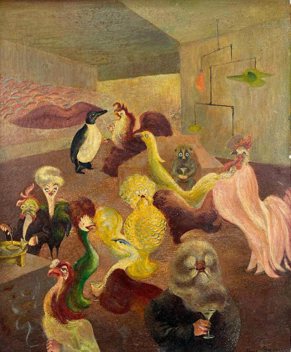 Anthropomorphic Birds at Cocktail Party with Alexander Calder Mobile, Surrealist School, Oil Painting