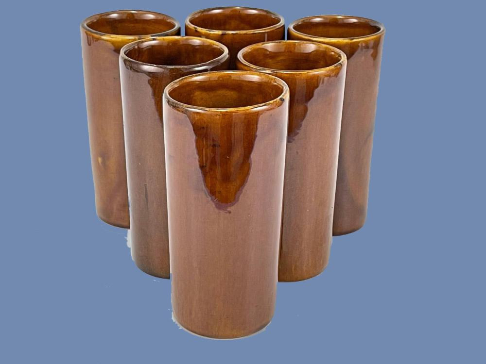 Lot of 6 Van Briggle Glazed Ice Tea Cups