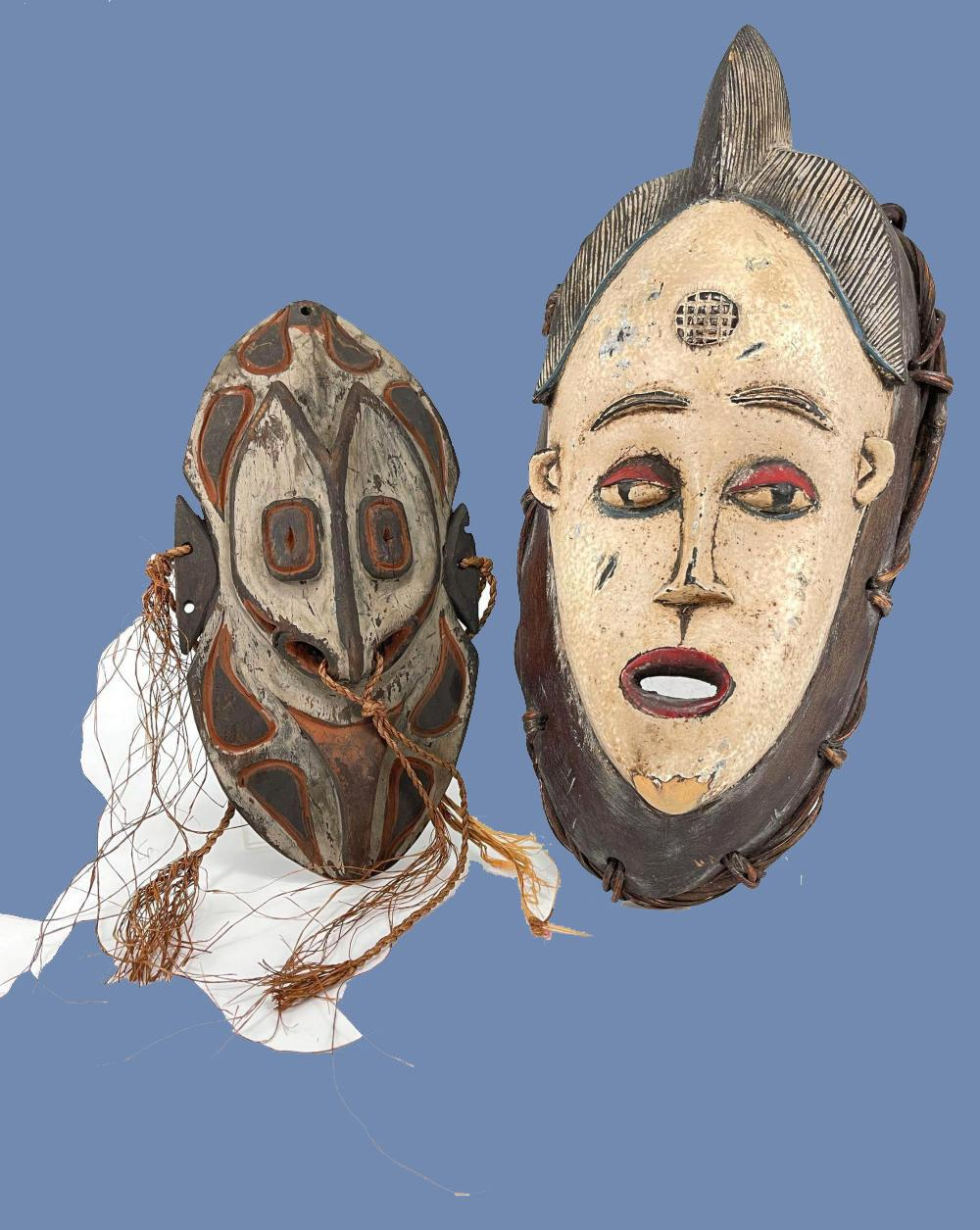 Lot of Two Carved Wood and Polychrome African Tribal Masks