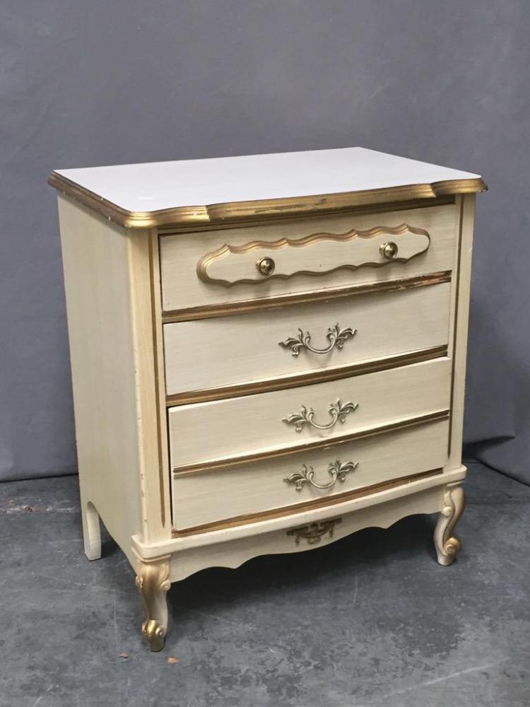 3 Piece Girls White Gold Furniture Set