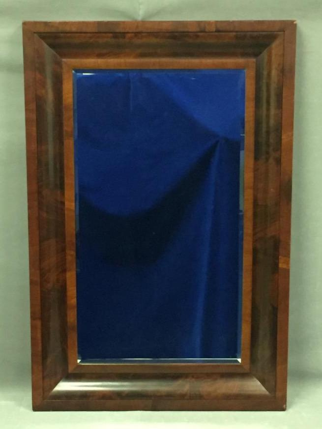 Large antique beveled glass mirror w wood frame for Tall glass mirror