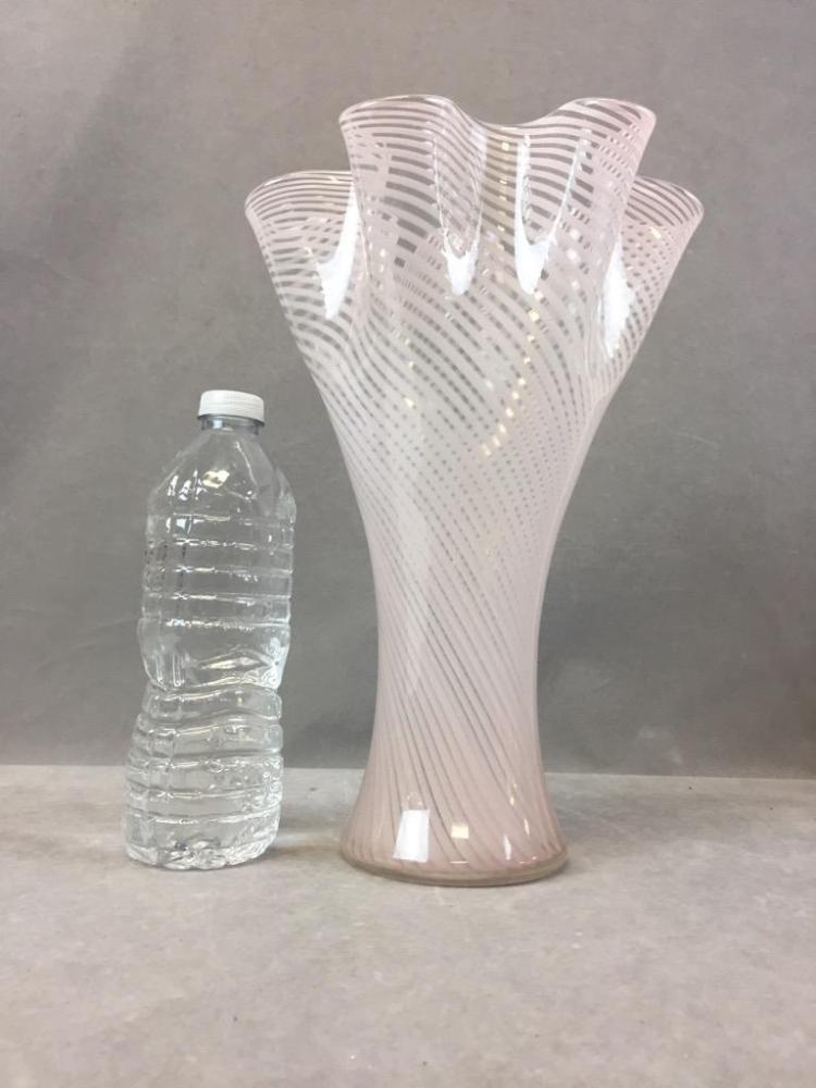 Pink ribbon art glass vase w/ ruffled edge Ruffled Glass Vase