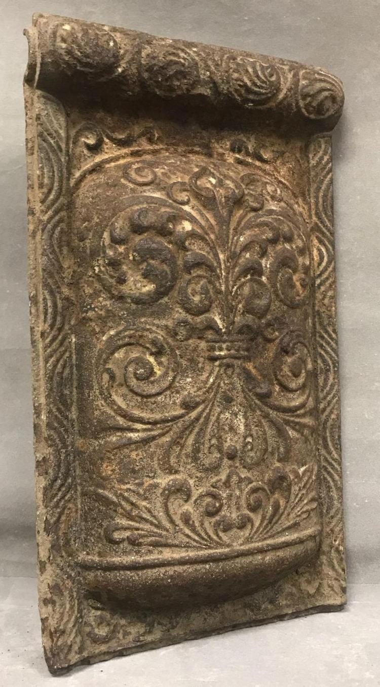 Antique cast iron highly decorated panel