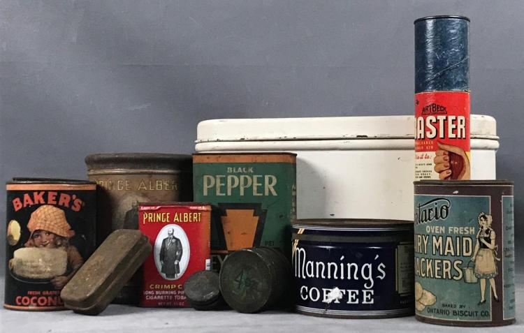 11 vintage tins and breadbox