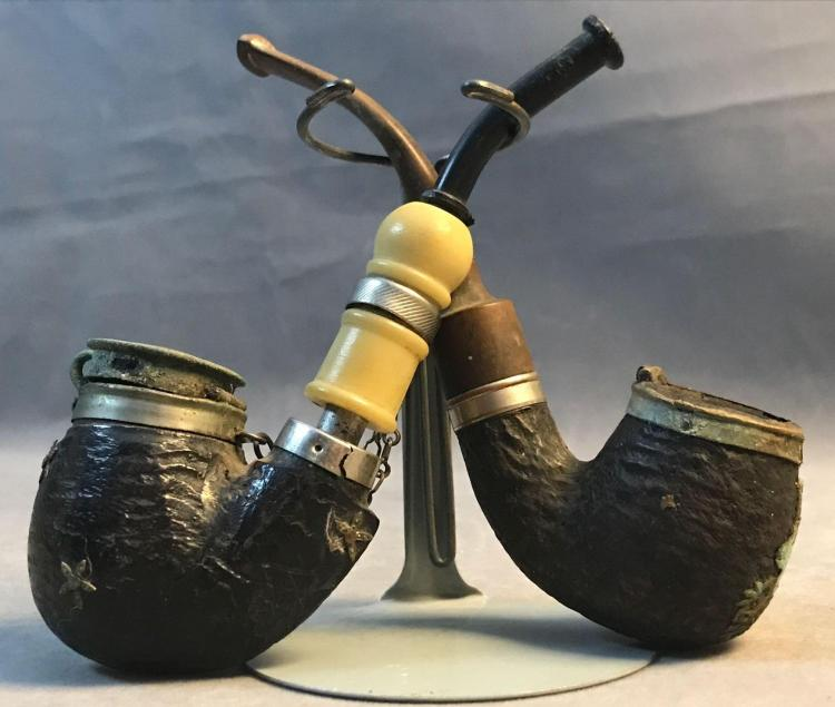 2 antique briar full bent tobacco pipes. B.B.K Swiss made Brunner Buhofer Kompagnie, and Czechoslovakian.