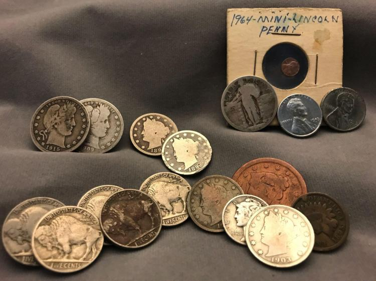 18 collectible coins. 1853 large penny, steel pennies, Buffalo head nickels and more