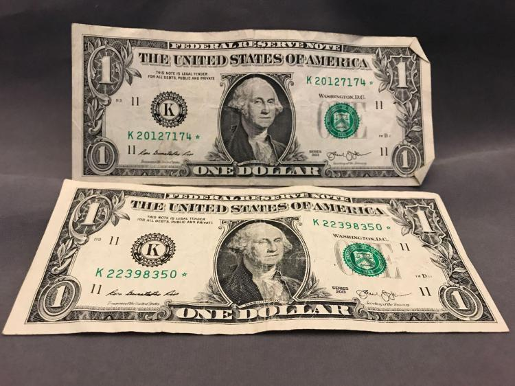 Two One dollar $1 Star Notes, 2013 K series