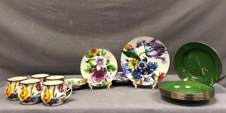 20 pieces of MacKenzie Childs enamel dishes and cups