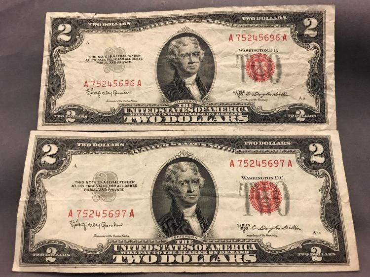 Two $2 two dollar Red seal sister bills, consecutive bills