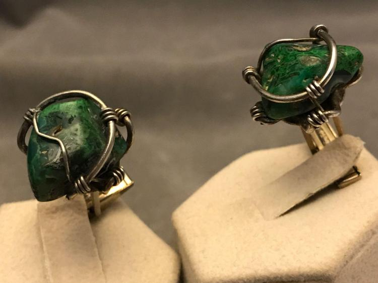 Turquoise nugget cufflinks by Jacob M. Oldak