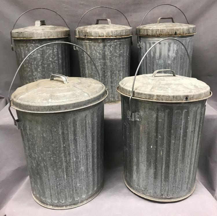 5 Old school galvanized rubbish cans