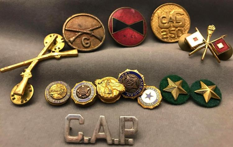 13 World War II era military medals and insignias