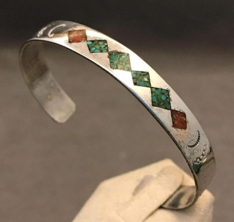 Vintage Native American sterling silver, turquoise and coral cuff bracelet