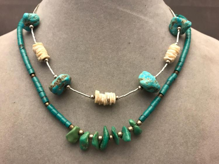 Two vintage turquoise and shell necklaces
