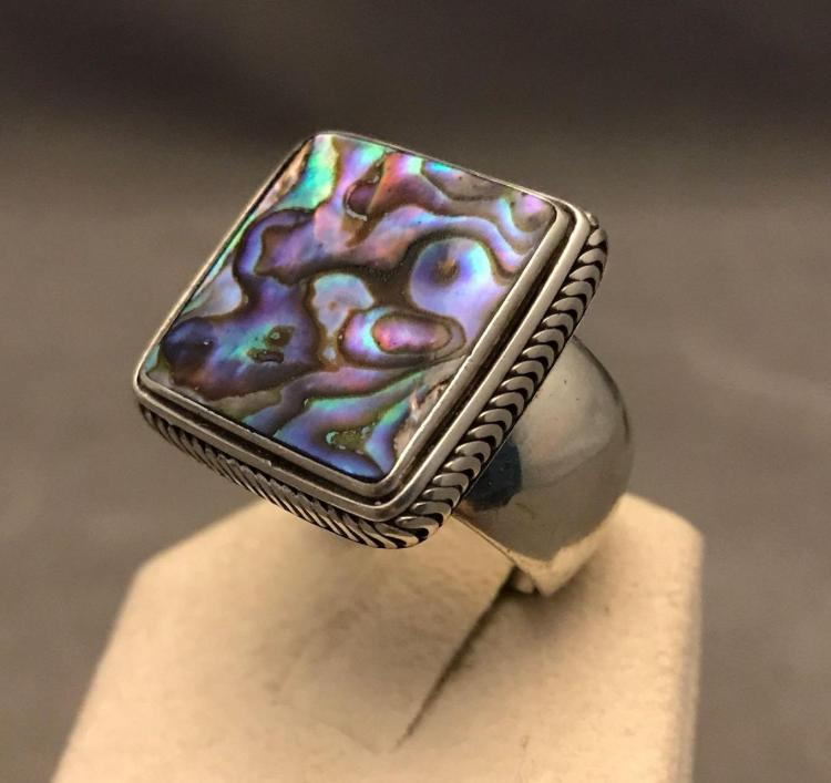 Modernist bezel set abalone and sterling silver wide band ring, Size 9.5