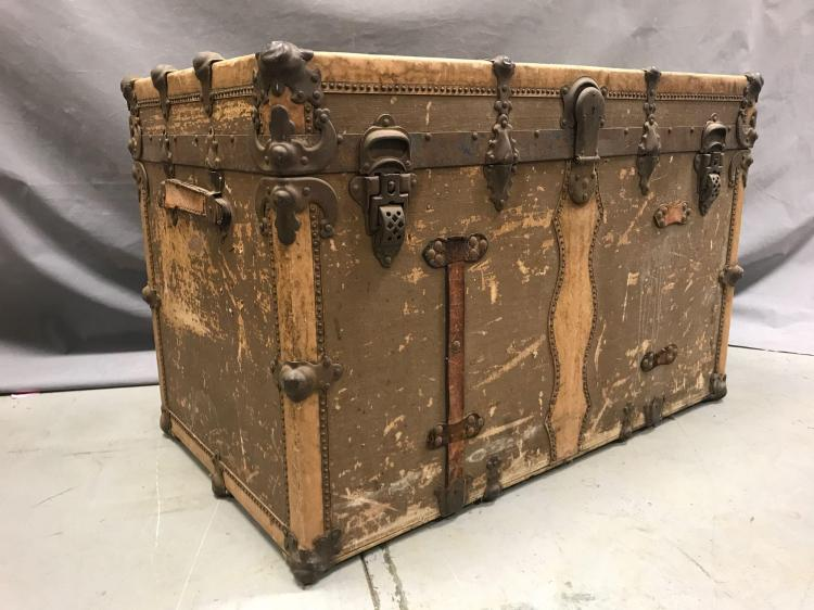 Antique trunk with fabulous hardware