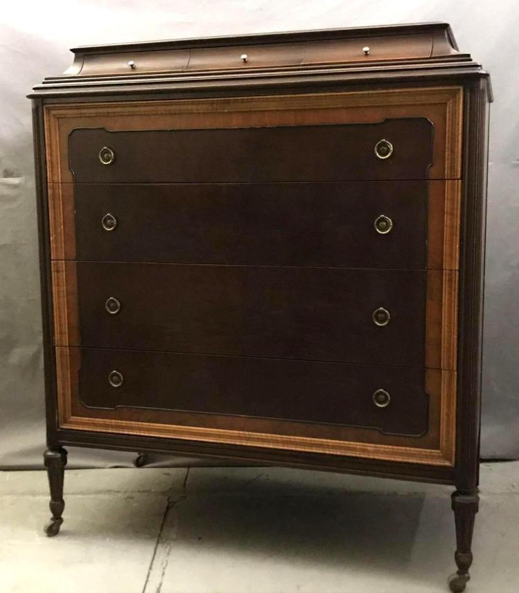 Walnut and Gumwood Seven drawer dresser. Made by Berkey and Gay Furniture Co