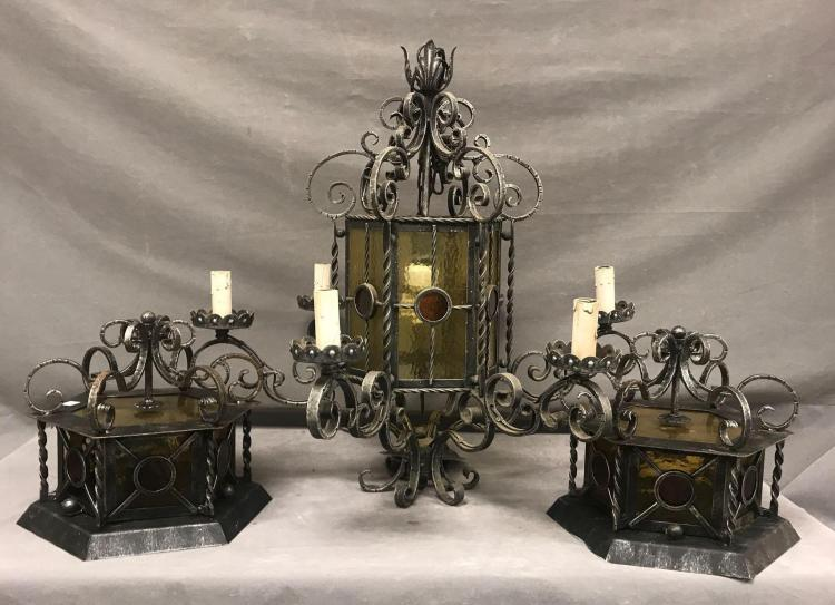 Italian wrought iron chandelier and matching wall sconces