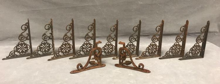 11 cast iron highly decorative antique shelf brackets