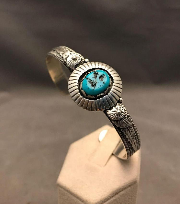 Vintage sterling silver and turquoise highly detailed cuff bracelet