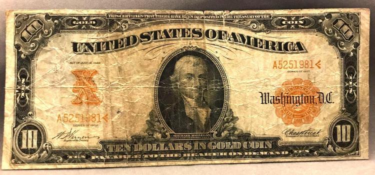 Series 1907 ten dollar $10 in gold certificate note