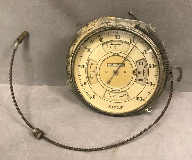 1936 Plymouth convex bubble glass speedometer and instrument cluster