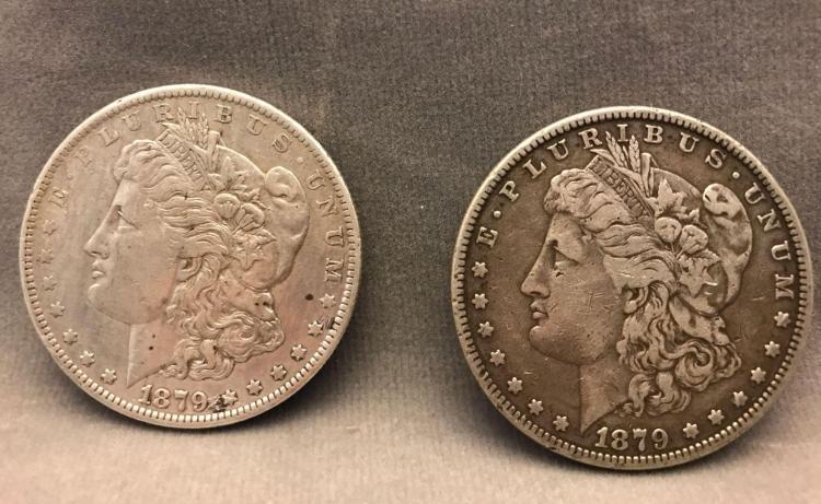 Two Morgan silver dollars, 1879, 90% silver