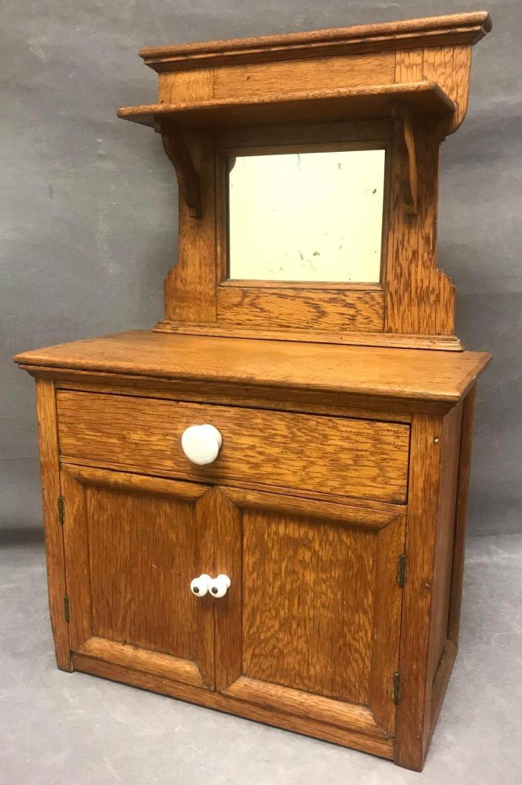 Antique salesman sample 2 drawer dresser with mirror