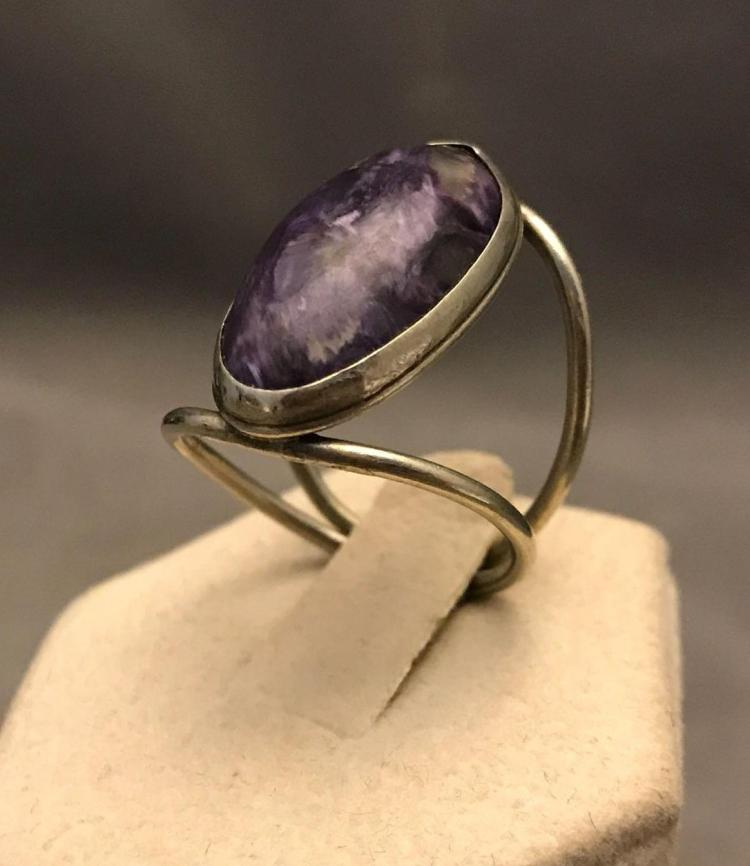 Vintage silver and Charoite gemstone ring sz8