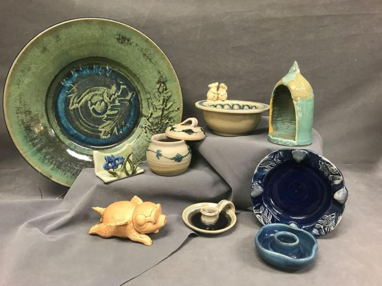 Nine piece mid century modern studio ceramic lot